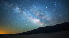Astro Time Lapse of Milky Way over Sand Dunes in Death Valley -Zoom In- Stock Footage
