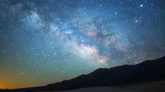 Astro Time Lapse of Milky Way over Sand Dunes in Death Valley -Zoom Out- Stock Footage