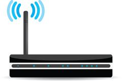 Wireless Wi-Fi router on white background Stock Illustration