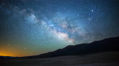 Astro Time Lapse of Milky Way over Sand Dunes in Death Valley  Stock Footage