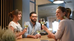 Group of trendy people cheering with wine glasses - stock footage