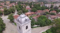 Aerial Panorama Eastern European Church 4K Stock Footage