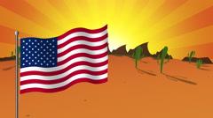 American flag over desert Stock Footage