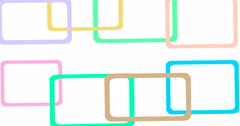Light geometrical colorful animated background on a white canvas seamless loop. - stock footage