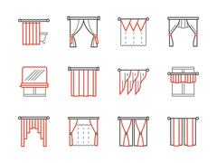 Curtains salon black and red line vector icons Piirros