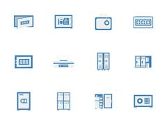 Blue safes and lockers flat vector icons - stock illustration