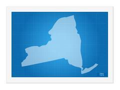 New York on blueprint Stock Illustration