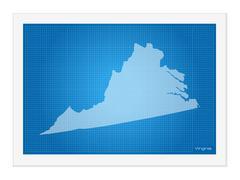 Virginia on blueprint - stock illustration