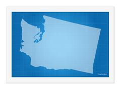 Washington on blueprint - stock illustration