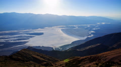 Time Lapse of Sunset over Badwater Salt Flat in Death Valley -Zoom In- Stock Footage