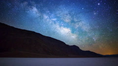MoCo Tracking Astro Time Lapse of Milky Way at Badwater in Death Valley -Zoom In Stock Footage