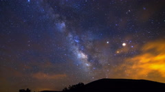 Astro Time Lapse of Milky Way through Clouds over Hill in Arizona -Pan Right- Stock Footage