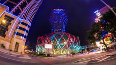 Macau China : Grand Lisboa Night Cityscape Landmark Casino And Hotels Stock Footage