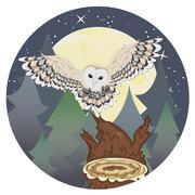 Barn Owl on a Tree Stump - stock illustration