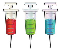 Cartoon syringes rgb - stock illustration