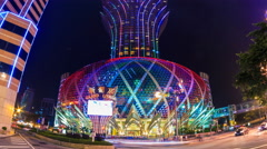 Macau China : Grand Lisboa Night Cityscape Landmark Casino And Hotels (zoom out) Stock Footage