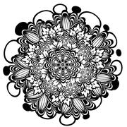 Flower Ornament Black and White - stock illustration
