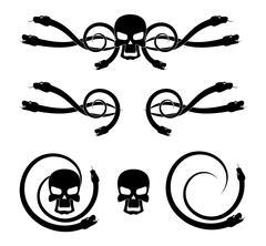 Skull and snake - stock illustration
