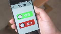 4K Vote NO Check Box on Smartphone Stock Footage