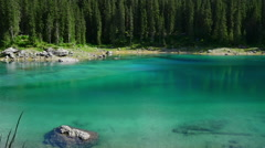 Mountain lake Lago di Carezza - stock footage