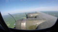 B-17 in Flight Right Wing View over Missouri - stock footage