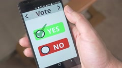 4K Vote YES Check Box on Smartphone Stock Footage