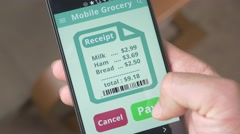 4K Grocery Shopping on Smartphone Mobile Order  - New Technology Stock Footage