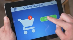 4K Online Shopping on Tablet Paying New Technology Stock Footage
