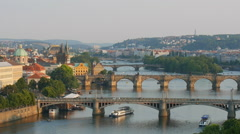 Bridges of Prague over the river Vitava Stock Footage