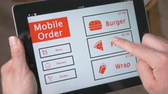4K Ordering Food with Tablet Device New Technology Stock Footage
