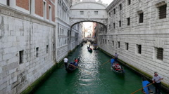 Timelapse video of gondolas are rowing along the beautiful Venice canal Stock Footage