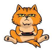 Grumpy Cat Playing Game Console Cartoon Vector Stock Illustration