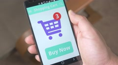 4K Paying Shopping Cart Online with Smartphone Stock Footage