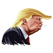 Donald Trump Cartoon Shouting, You're Fired! Caricature Vector - stock illustration