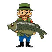 Fisherman Carrying Big Fish Stock Illustration