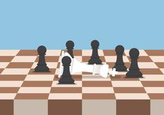 Group of black chess pawns defeat the white king Stock Illustration
