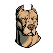 Pit Bull Head Vector - stock illustration