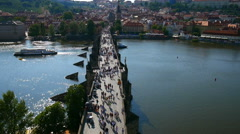Aerial view of Charles bridge and Prague castle - stock footage