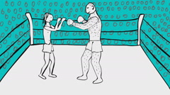 Hand drawn animated boxing ring with two boxers big one and smaller Stock Footage