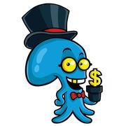 Filthy Rich Octopus Planting Money - stock illustration