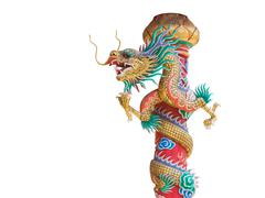 Chinese dragon statue on the pole isolated with clipping path Stock Photos