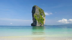 Beautiful view to the ocean and small cliff island from Poda island Stock Footage