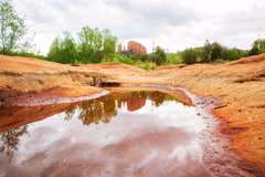 5K Time Lapse of Cathedral Rock over Reflecting Pond in Sedona, Arizona  Stock Footage