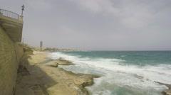Cliff Waves, Mediterranean Sea, Republic of Malta, Real Time, 4k - stock footage