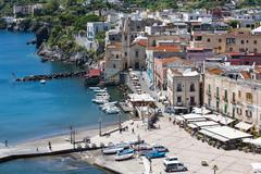 Aerial view of Lipari harbor, Aeolian Islands near Sicliy, Italy - stock photo