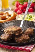 Bavarian meatballs in a pan Stock Photos