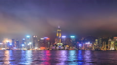 Hong Kong Victoria Harbour Cityscape Day To Night Time Lapse Of HongKong City - stock footage