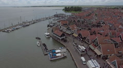 Aerial view of Volendam, Holland Stock Footage