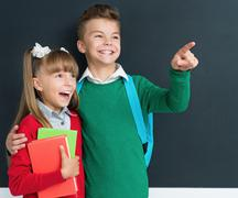 Pupils back to school Stock Photos