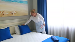 Maid Cleans The Room At The Hotel 6 Stock Footage